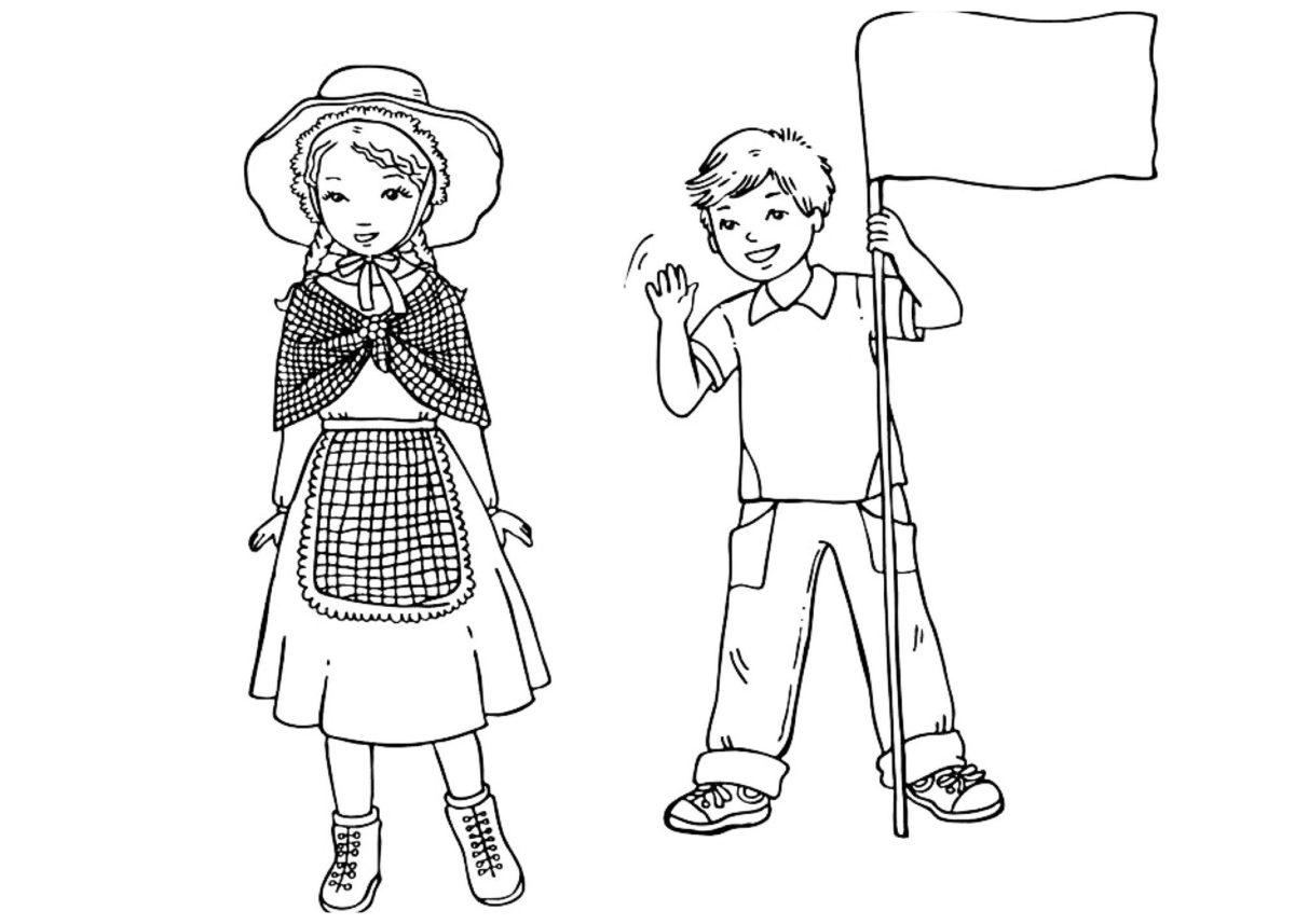 Английские дети - Картинка для раскрашивания красками-гуашью