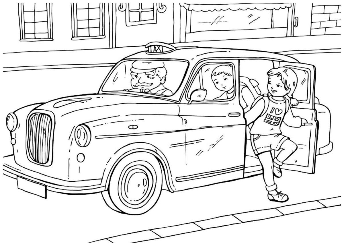 Английское такси - Картинка для раскрашивания красками-гуашью