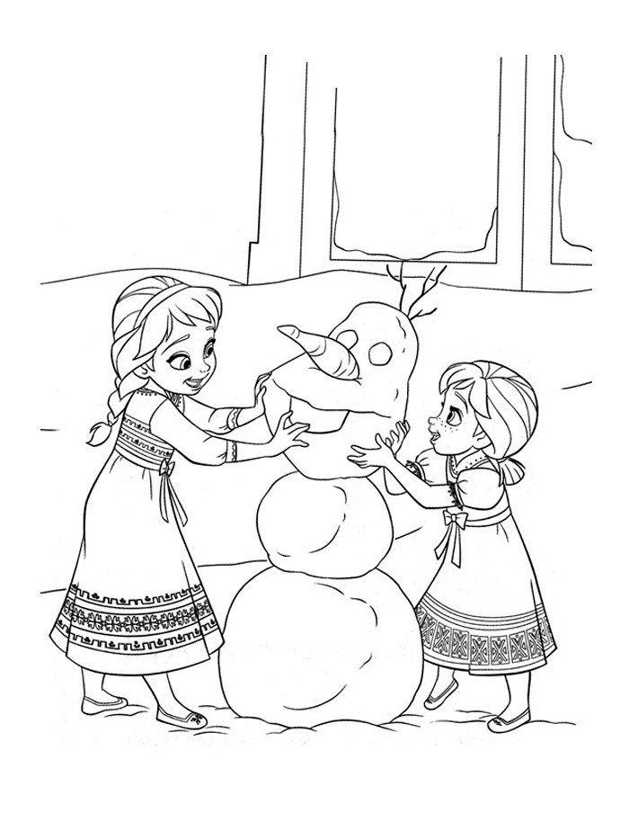 Картинка для раскраски «Анна и Эльза лепят снеговика»