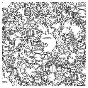 Антистресс Чаепитие - Картинка для раскрашивания красками-гуашью