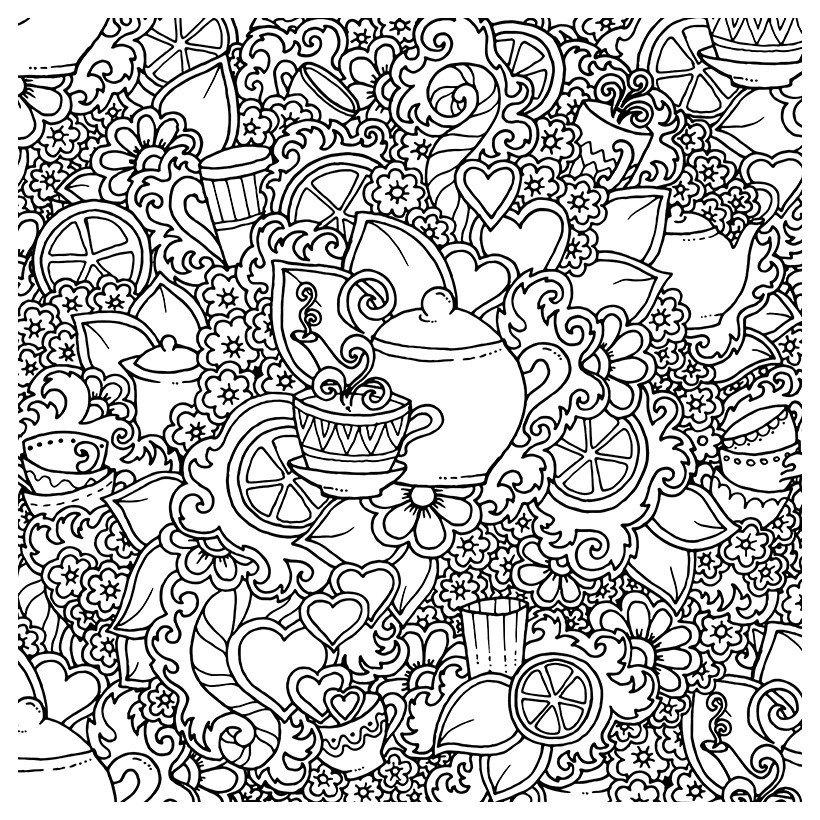 Картинка для раскраски «Антистресс Чаепитие»