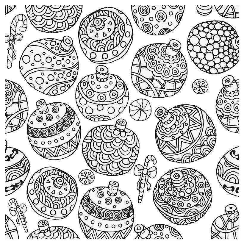 Антистресс Новый год - Картинка для раскрашивания красками-гуашью