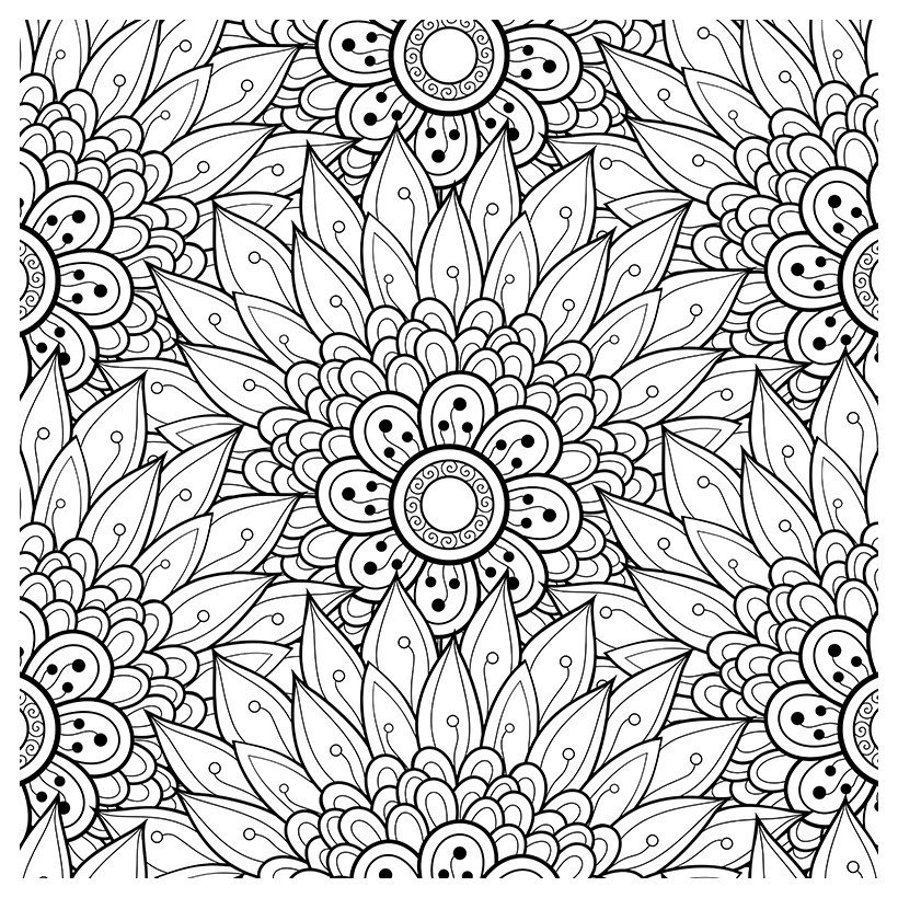 Антистресс Причудливые цветы - Картинка для раскрашивания красками-гуашью