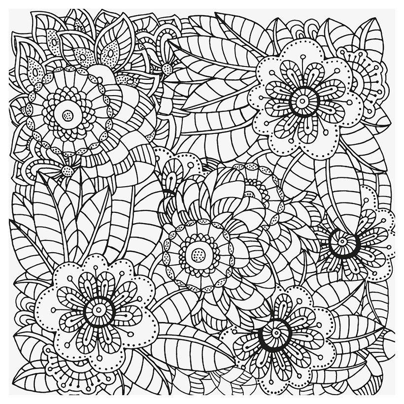 Антистресс Ретро цветы - Картинка для раскрашивания красками-гуашью