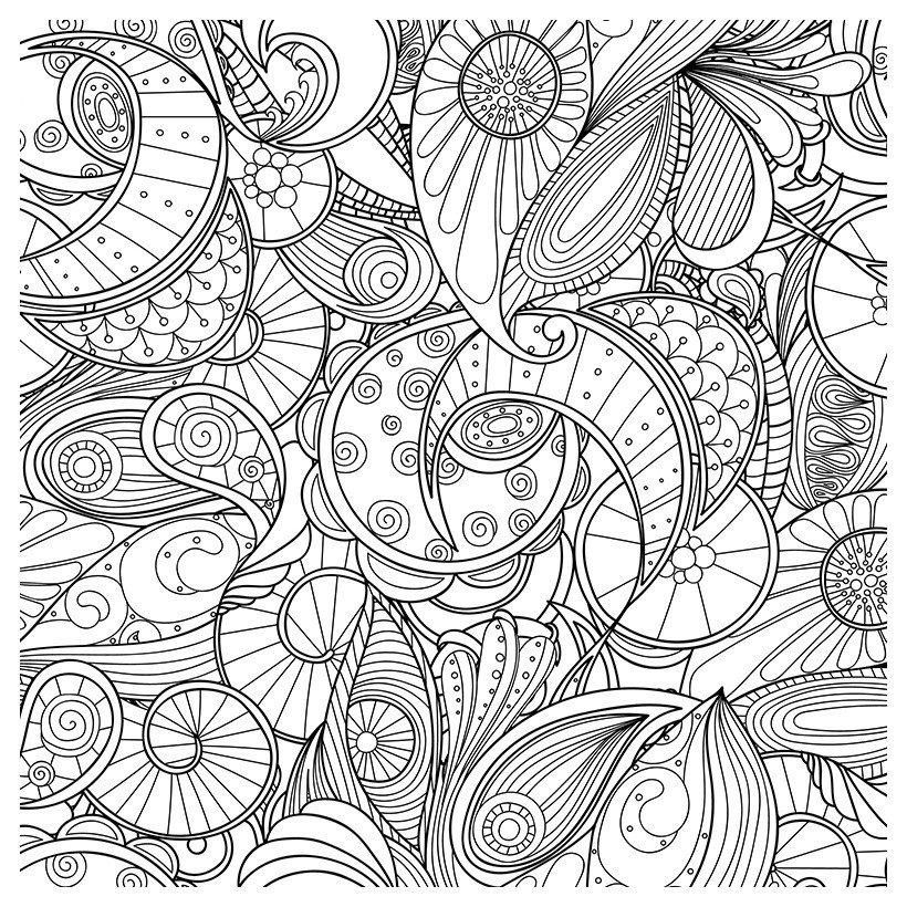 Антистресс Волны в стиде зентангл - Картинка для раскрашивания красками-гуашью
