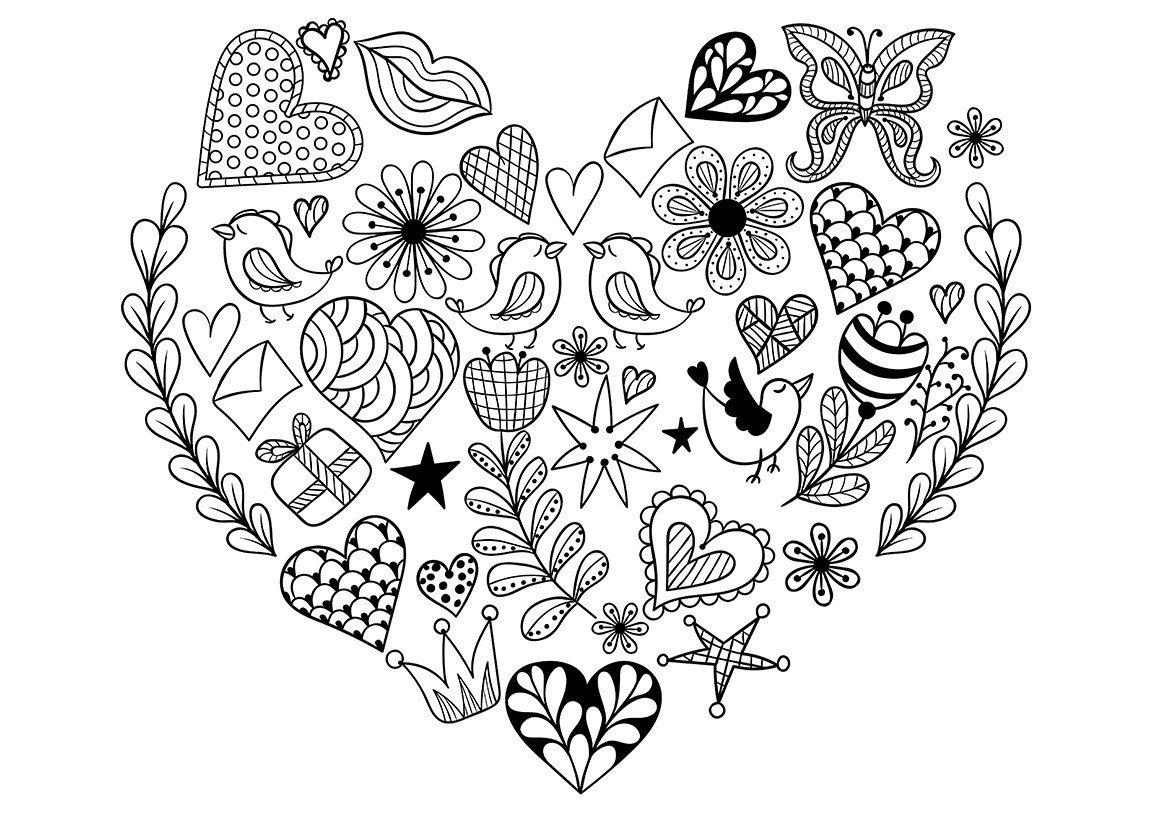 Арт-терапия День Валентина - Картинка для раскрашивания красками-гуашью