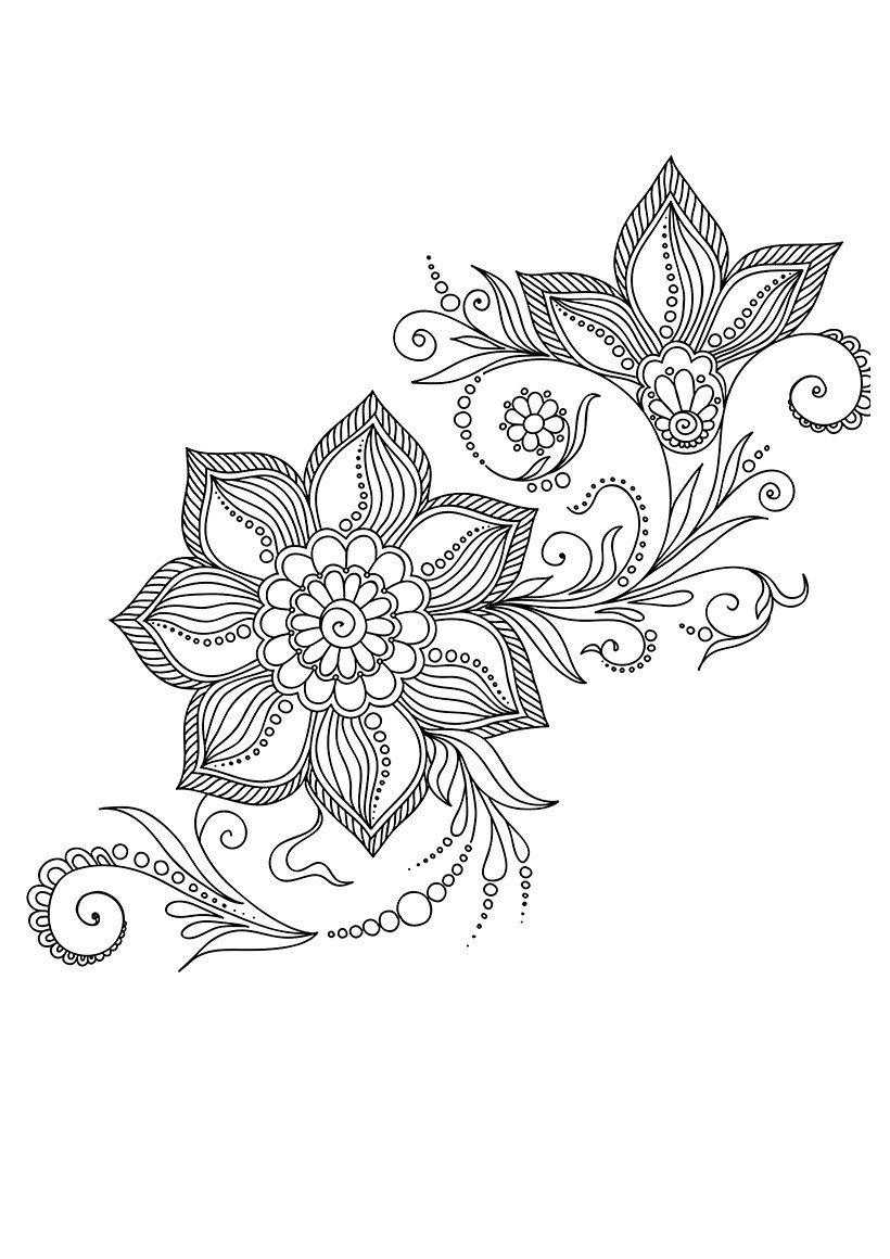 Картинка для раскраски «Арт-терапия Индийские цветы»