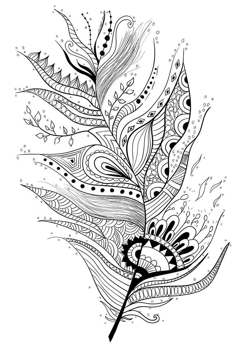 Арт-терапия Капли и перо - Картинка для раскрашивания красками-гуашью