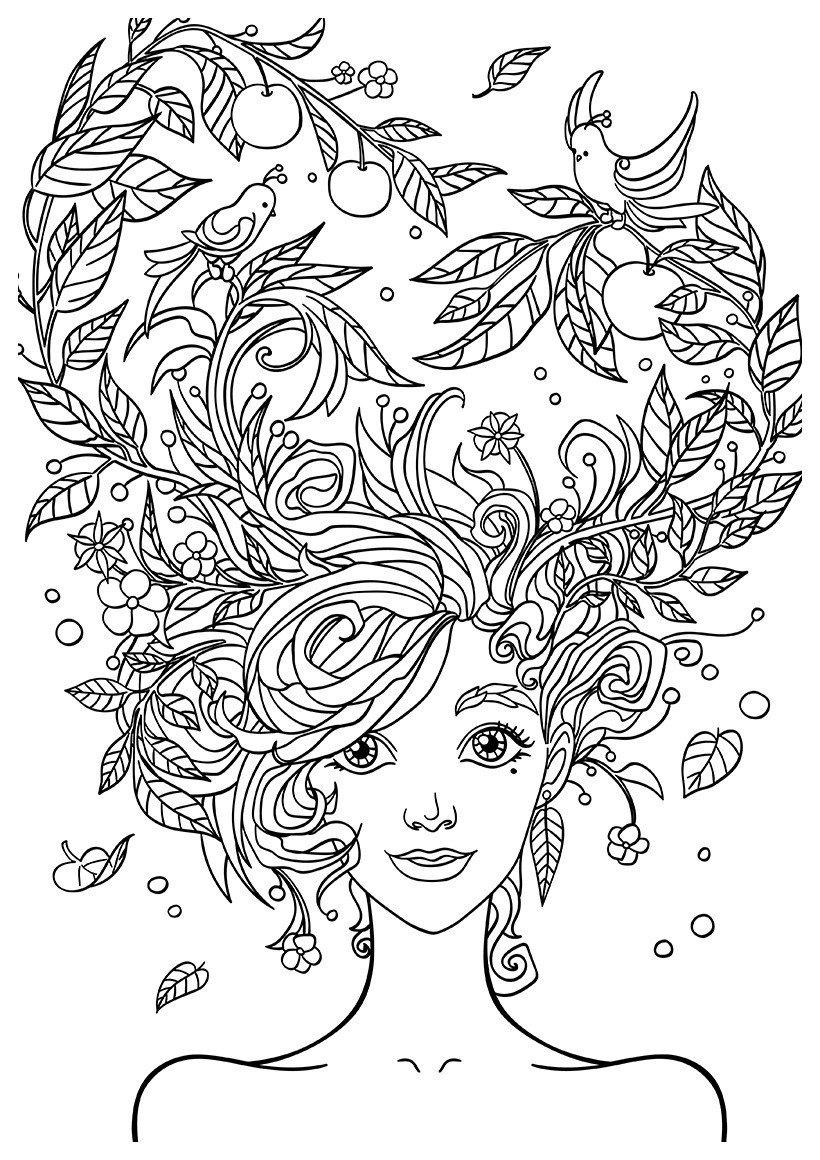 Арт-терапия Сад на голове - Картинка для раскрашивания красками-гуашью