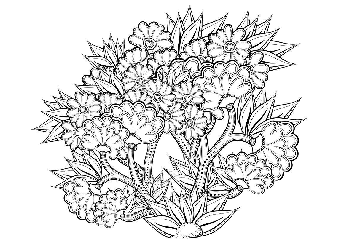 Арт-терапия Цветочное дерево - Картинка для раскрашивания красками-гуашью