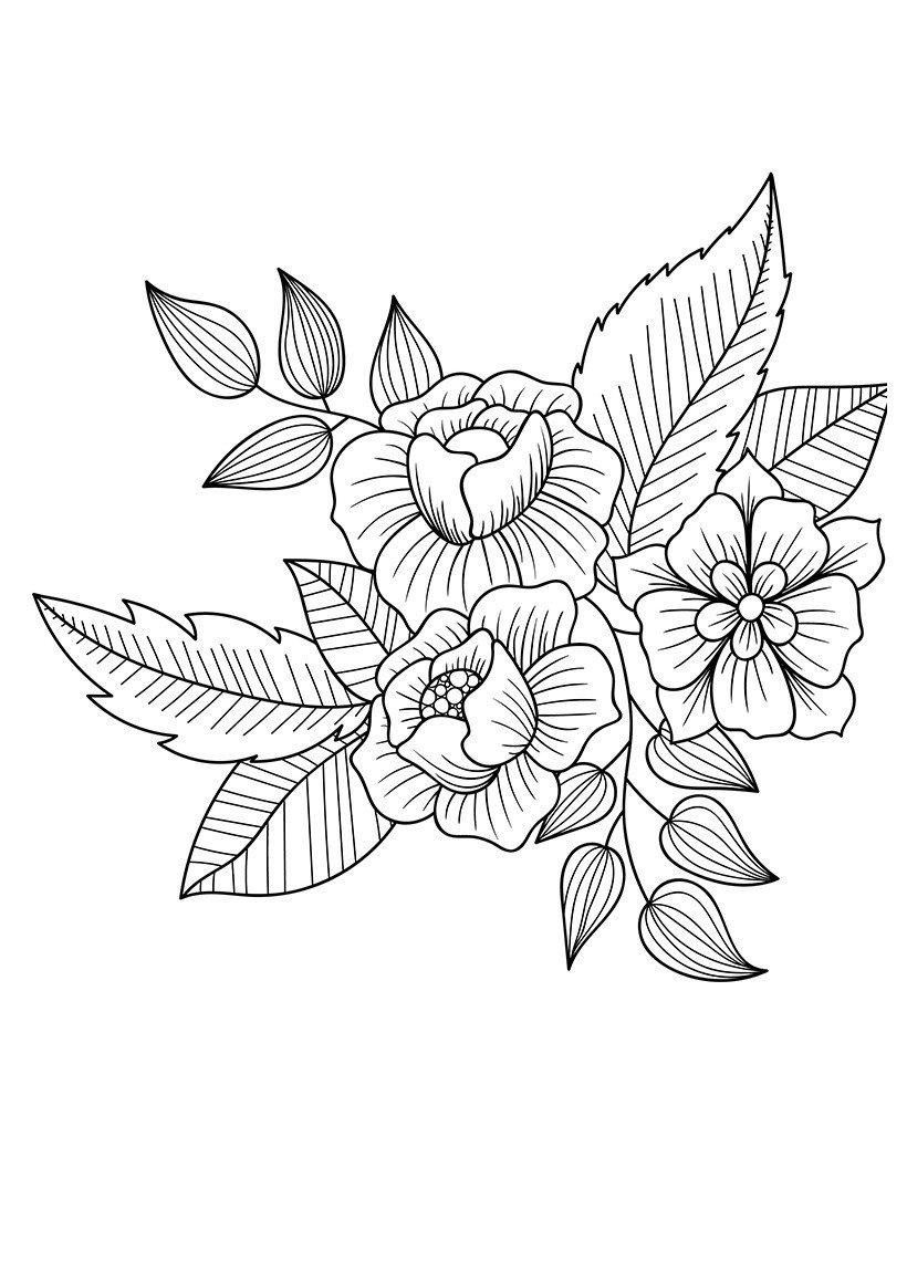 Арт-терапия Цветочные дудлы - Картинка для раскрашивания красками-гуашью