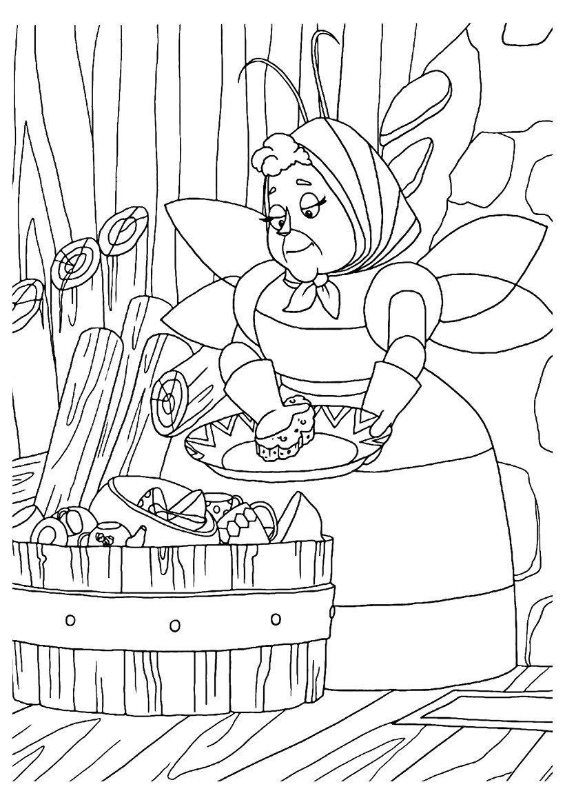 Баба Капа моет посуду - Картинка для раскрашивания красками-гуашью