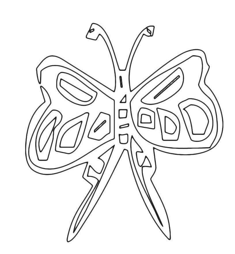 Картинка для раскраски «Бабочка с длинными крыльями»