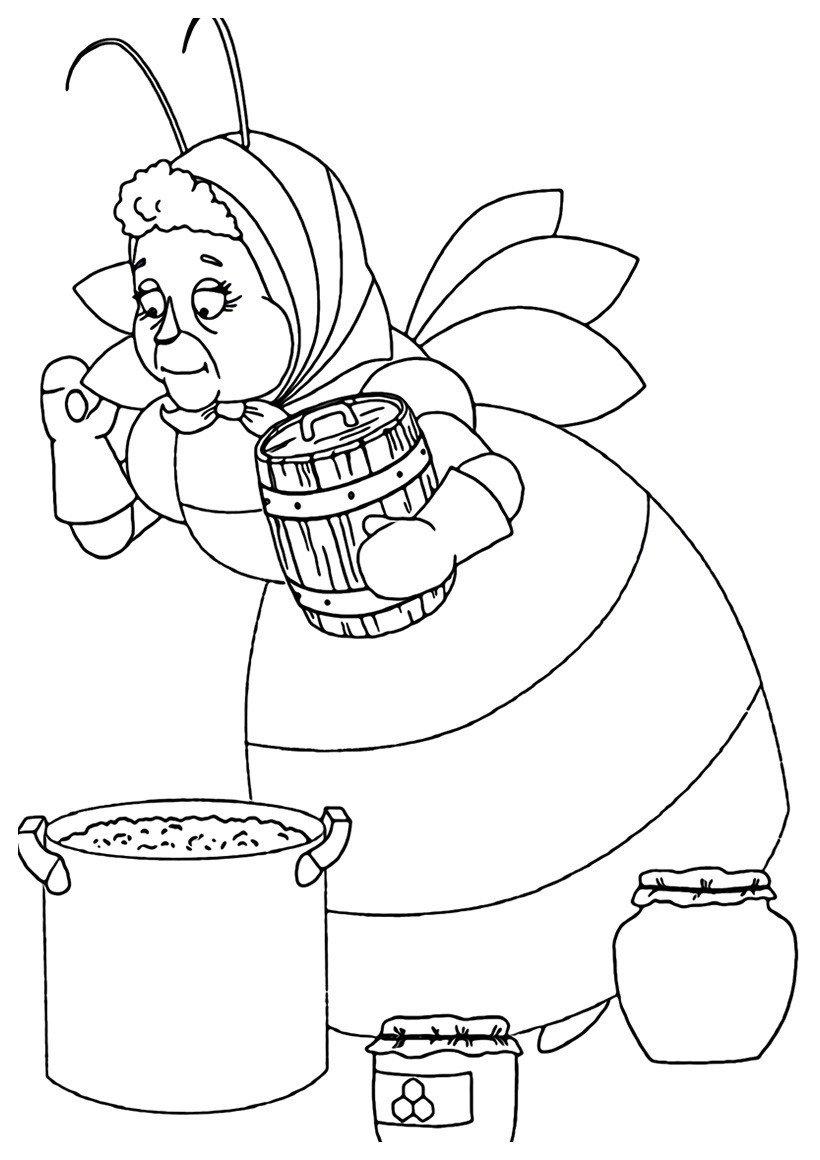 Бабушка Лунтика - Картинка для раскрашивания красками-гуашью