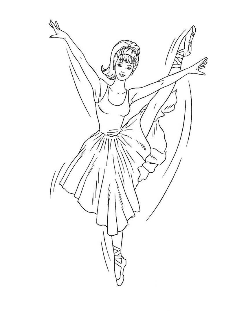 Барби - 12 танцующих принцесс - Картинка для раскрашивания красками-гуашью