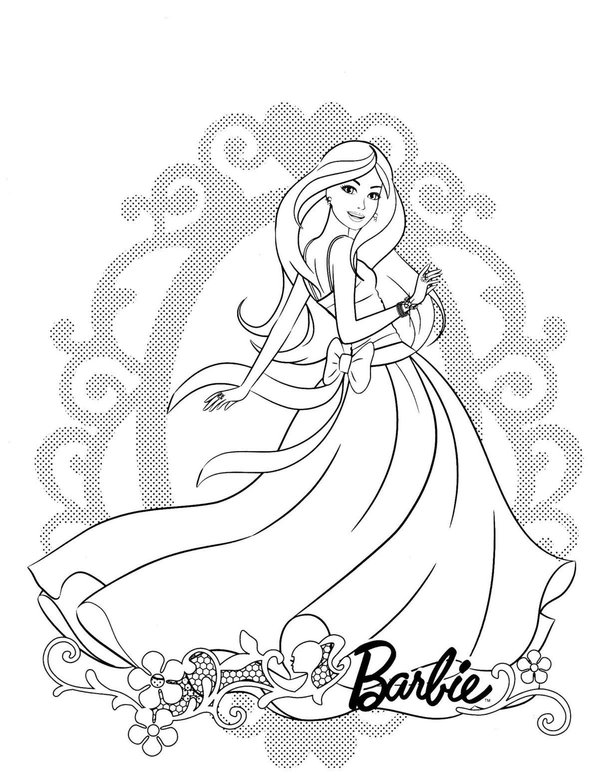 Барби в красивом платье - Картинка для раскрашивания красками-гуашью