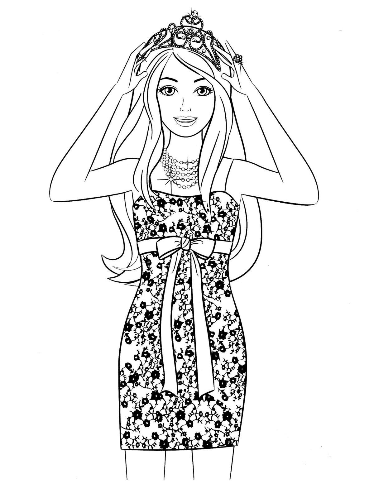 Барби в стильном платье и короне - Картинка для раскрашивания красками-гуашью