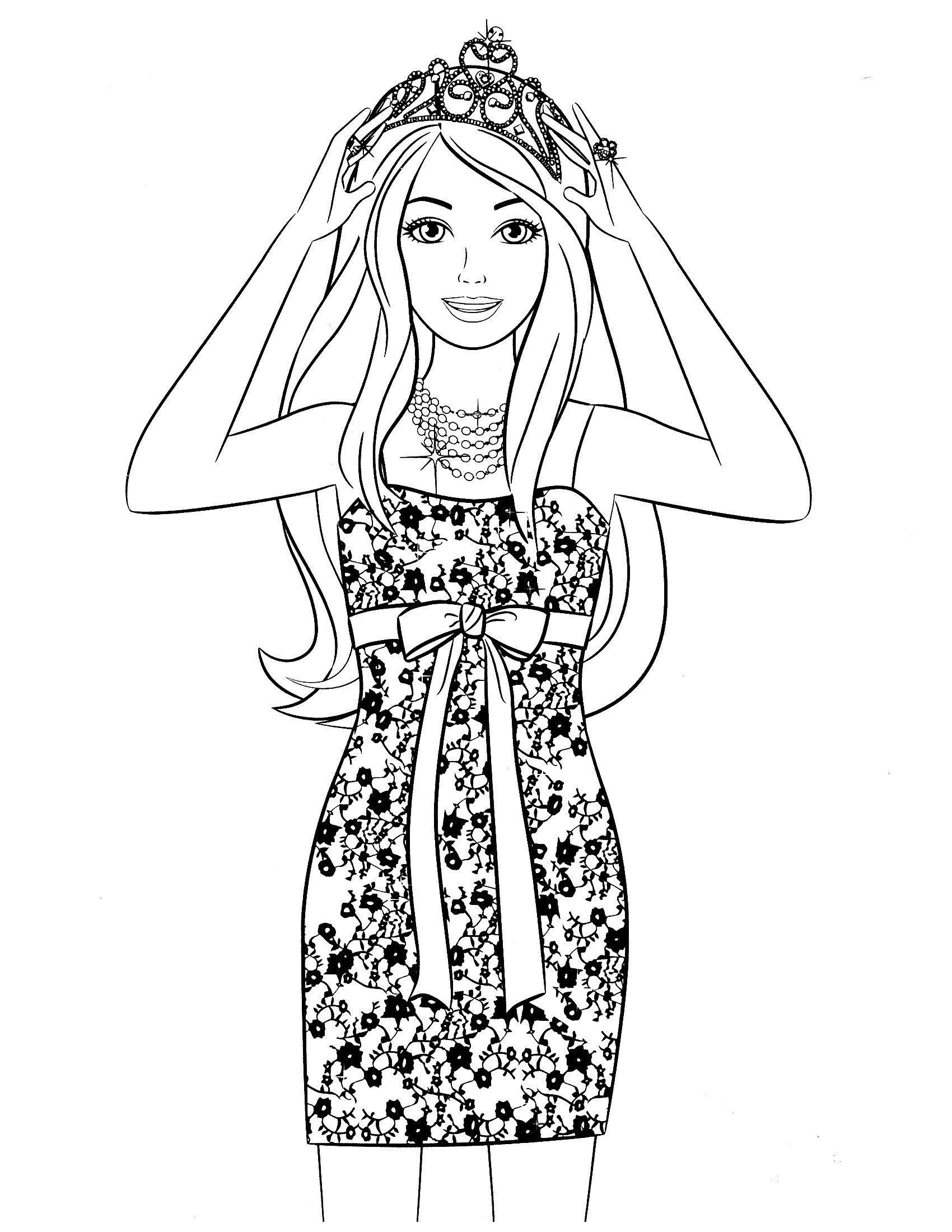 Картинка для раскраски «Барби в стильном платье и короне»
