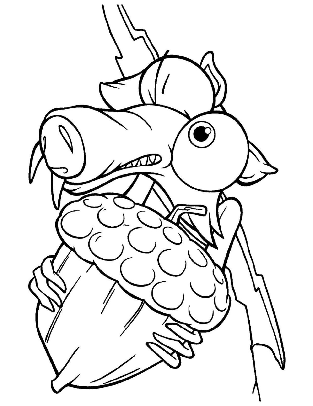 Белка Скрат поймала орех - Картинка для раскрашивания красками-гуашью
