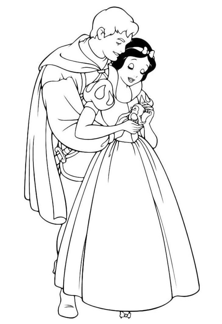 Белоснежка с принцем - Картинка для раскрашивания красками-гуашью