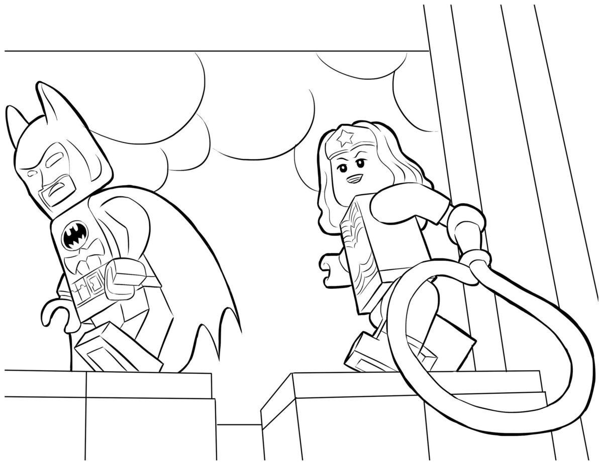 Бэтмен и Чудо-женщина - Картинка для раскрашивания красками-гуашью