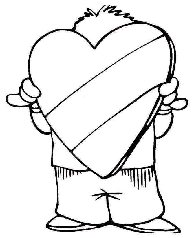 Большая валентинка - Картинка для раскрашивания красками-гуашью