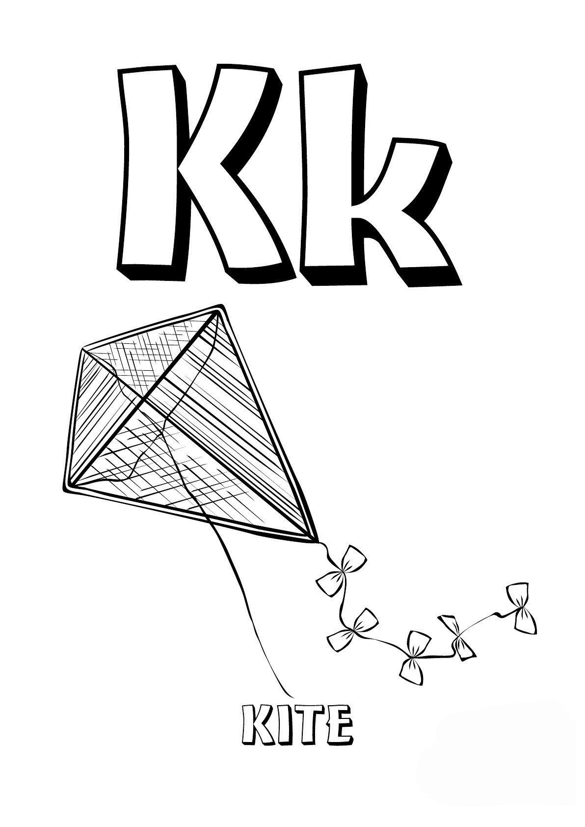 Буква K английского алфавита - Картинка для раскрашивания красками-гуашью