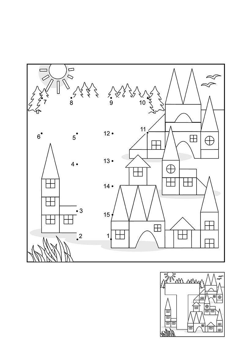 Буква Т в городе по точкам - Картинка для раскрашивания красками-гуашью