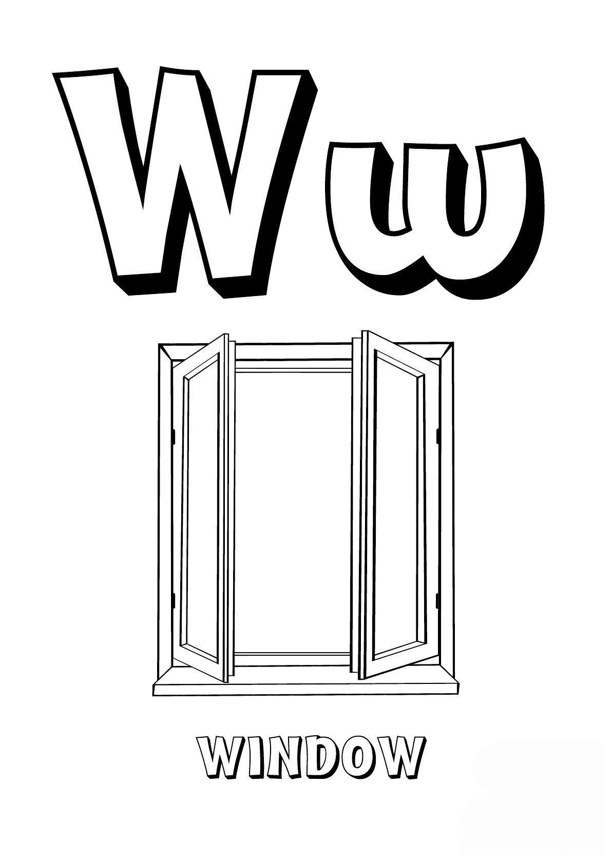 Буква W английского алфавита - Картинка для раскрашивания красками-гуашью