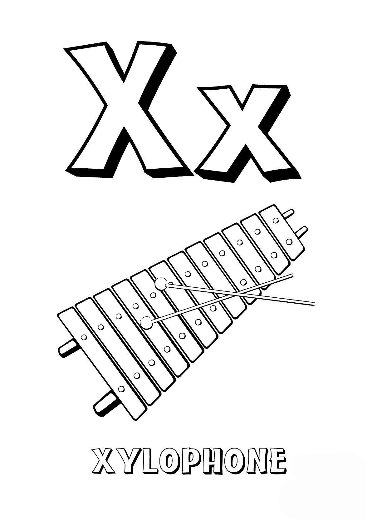 Буква X английского алфавита - Картинка для раскрашивания красками-гуашью
