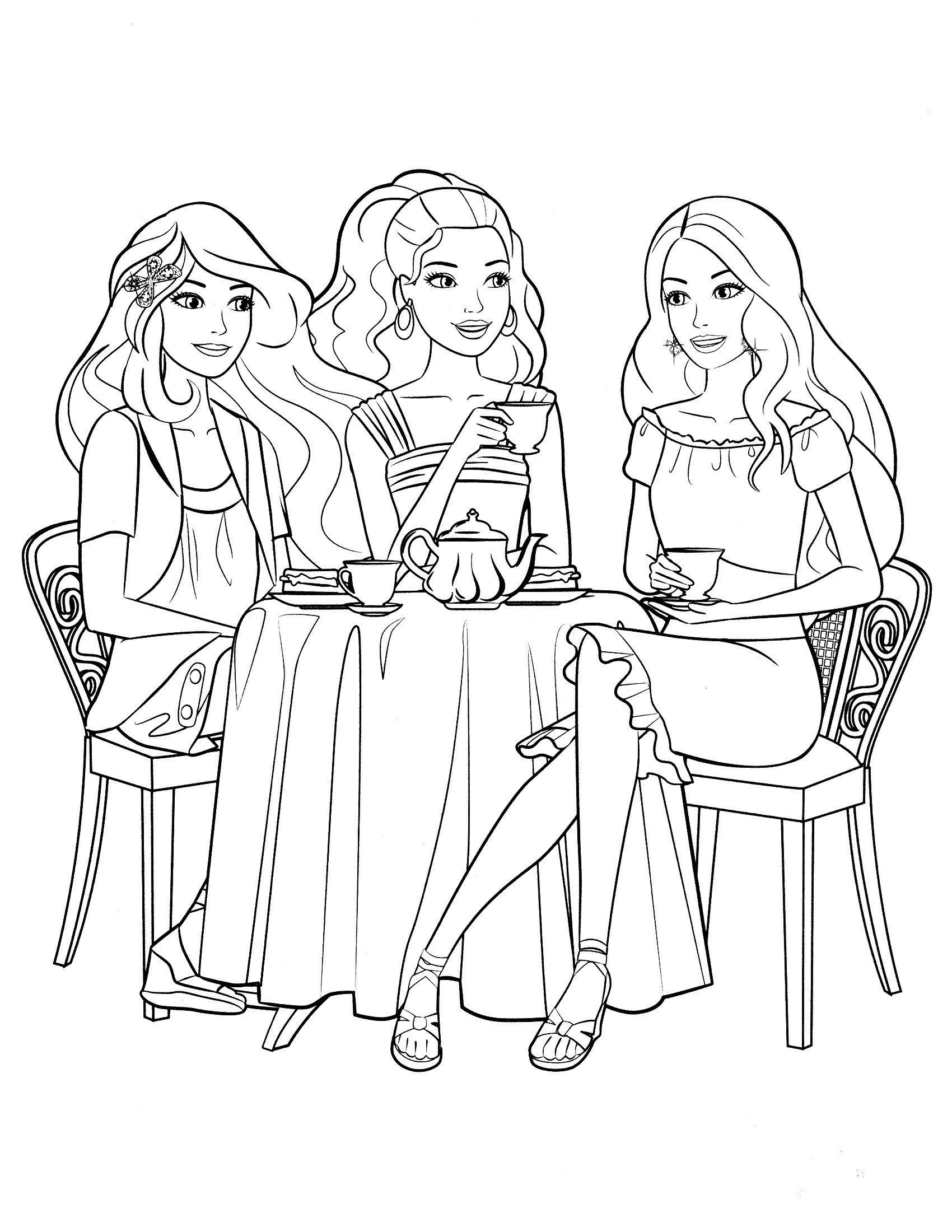 Картинка для раскраски «Чаепитие с Барби»