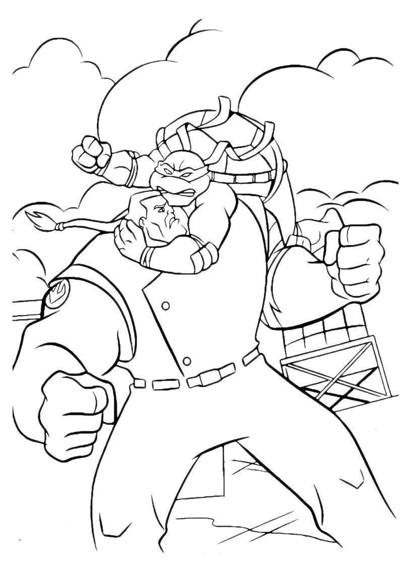 Картинка для раскраски «Ниндзя-Черепашка атакует»