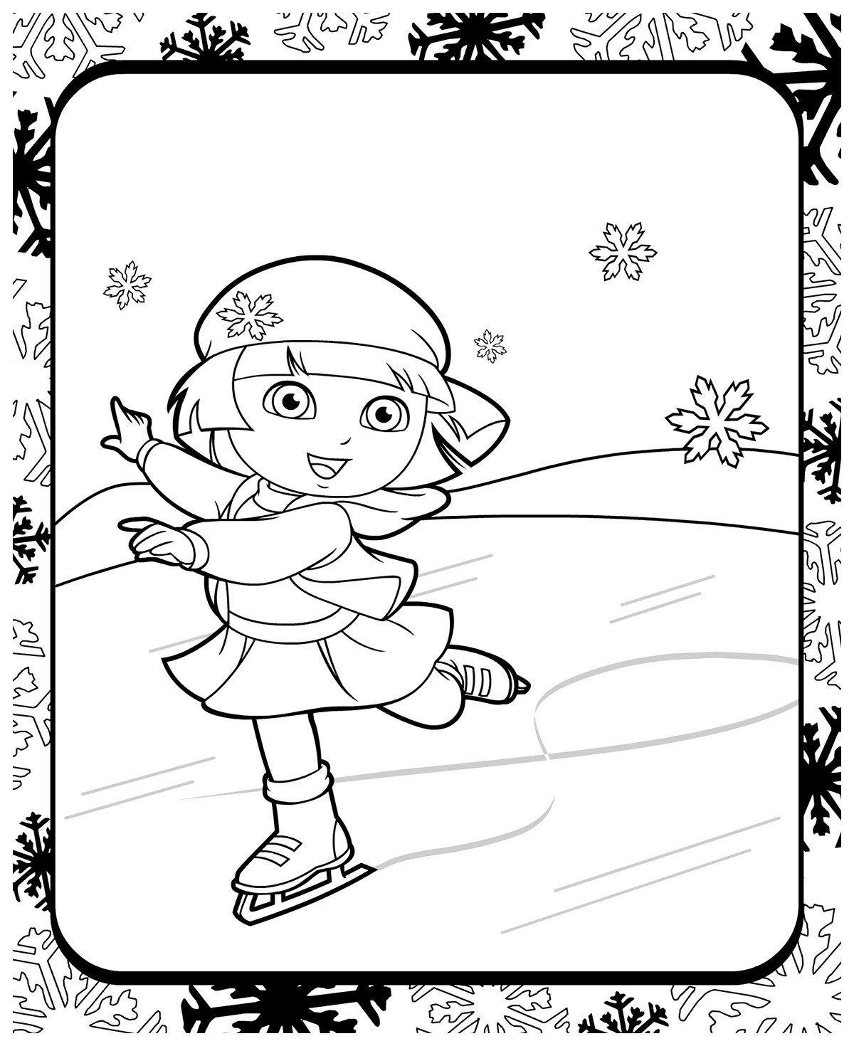 Даша-путешественница на коньках - Картинка для раскрашивания красками-гуашью