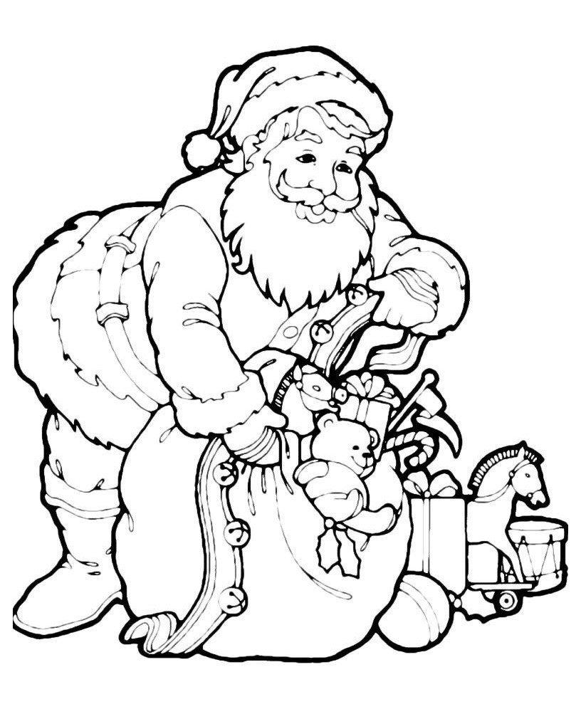 Картинка для раскраски «Дед Мороз достаёт игрушки из мешка»