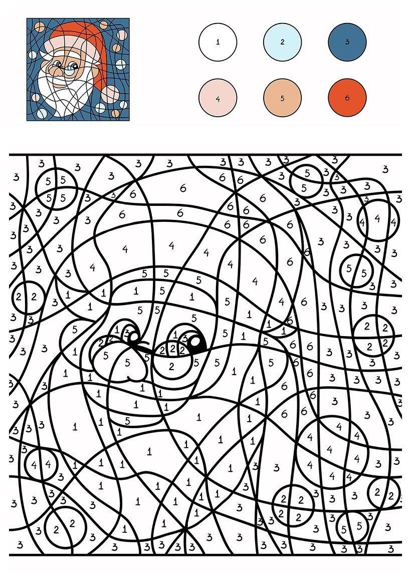 Дед Мороз по цифрам - Картинка для раскрашивания красками-гуашью