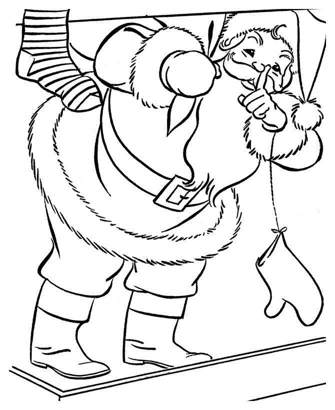 Дед Мороз просит не шуметь - Картинка для раскрашивания красками-гуашью