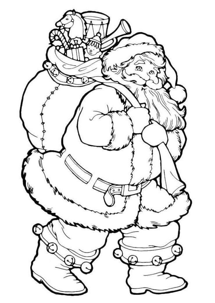 Дед Мороз с игрушками и конфетами - Картинка для раскрашивания красками-гуашью