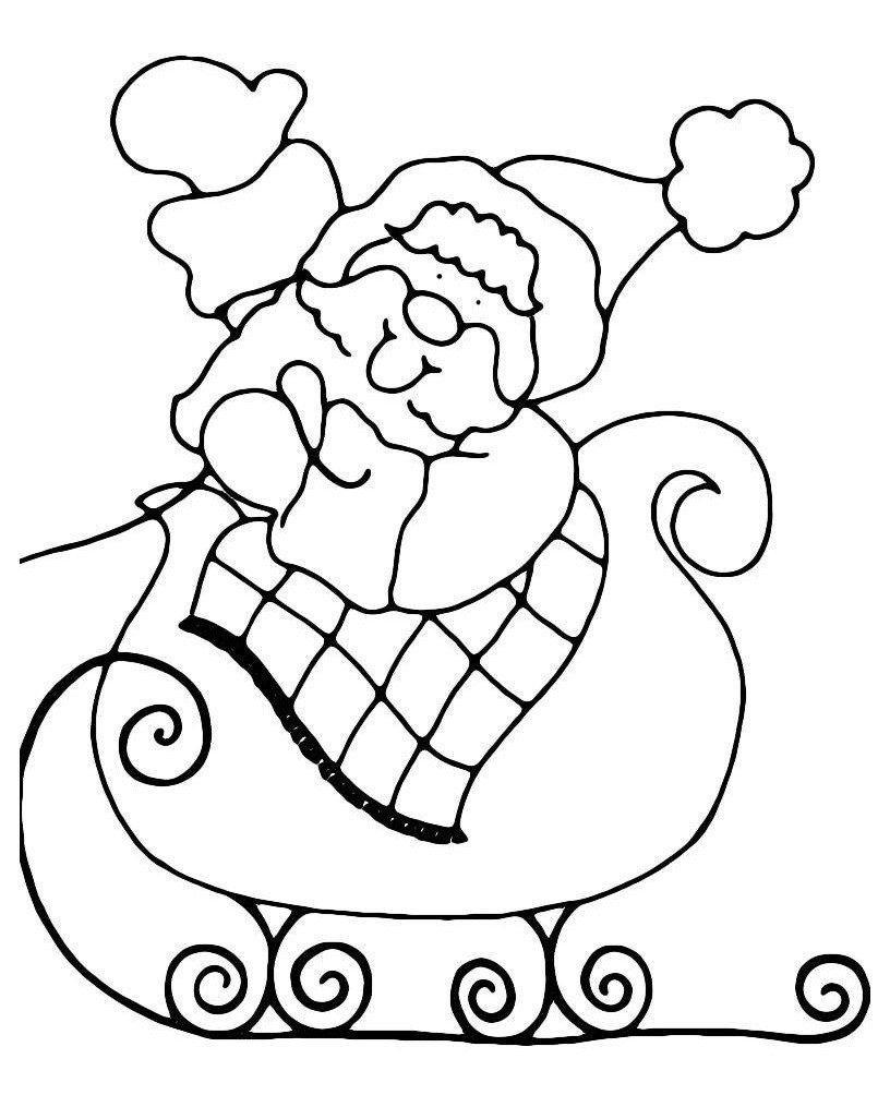 Дедушка Мороз едет на санях - Картинка для раскрашивания красками-гуашью