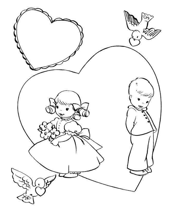 День Святого Валентина для детей - Картинка для раскрашивания красками-гуашью