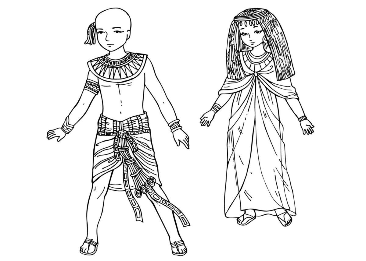 Дети Древнего Египта - Картинка для раскрашивания красками-гуашью