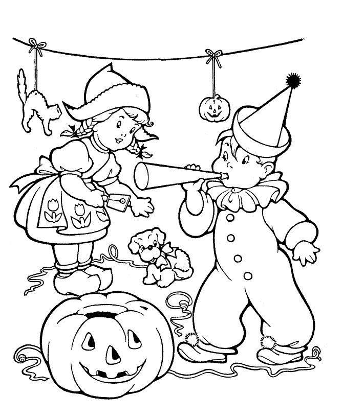 Дети играют на Хэллоуин - Картинка для раскрашивания красками-гуашью