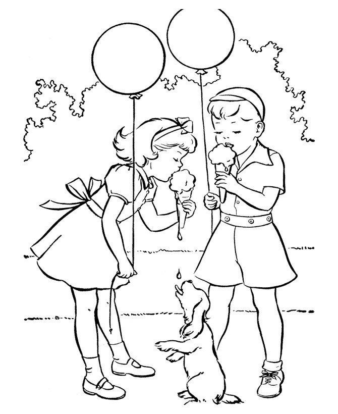 Дети с мороженым - Картинка для раскрашивания красками-гуашью