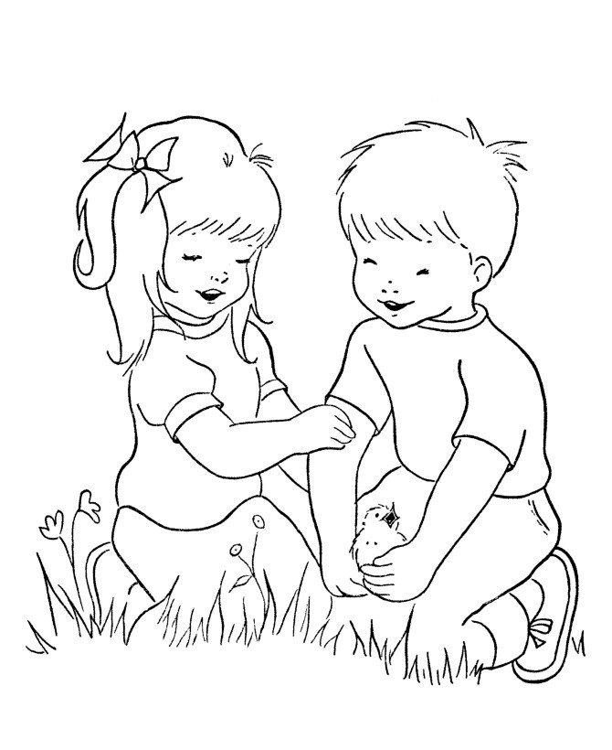Дети - Картинка для раскрашивания красками-гуашью