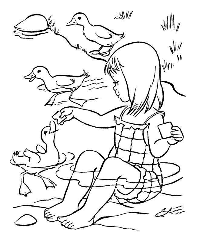 Девочка кормит уток - Картинка для раскрашивания красками-гуашью
