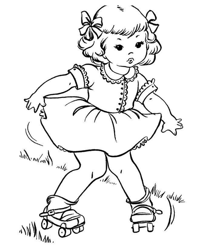 Девочка на роликах - Картинка для раскрашивания красками-гуашью