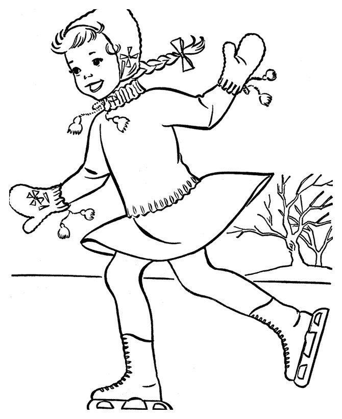 Картинка для раскраски «Девочка на рождественском катке»