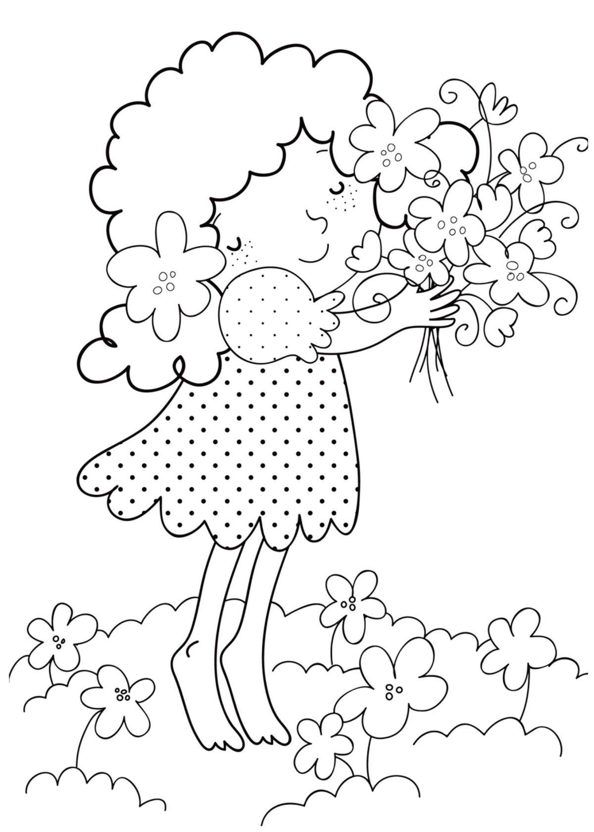 Девочка с цветами - Картинка для раскрашивания красками-гуашью