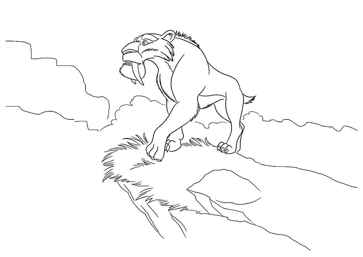 Диего у обрыва - Картинка для раскрашивания красками-гуашью