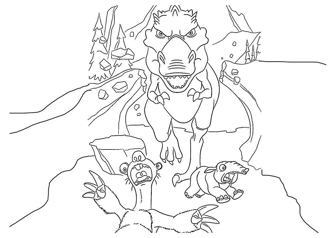 Картинка для раскраски «Динозавр гонится за Сидом»