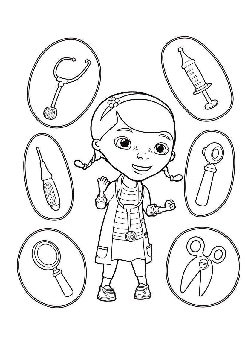 Доктор Плюшева с инструментами - Картинка для раскрашивания красками-гуашью